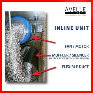 Inline (Grille / Duct) Exhaust / Ventilation Fan with Full Installation Package ― (Ceiling / Duct / Built-in)