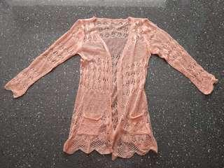 New laced peach coloured cardigan