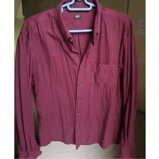 Uniqlo Maroon Button-down Long Sleeves