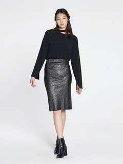 Pomelo Roxanne Glitter Pencil Skirt - Black