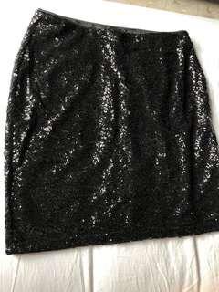 New H&M Black Sequined Skirt
