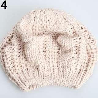 Beret Wool Knitted Baggy Winter Beanie Hat