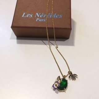 🚚 全新 les nereides paris 項鍊 復古 巴黎 法國 金鍊 瓢蟲 飾品 祖母綠 琉璃 寶石