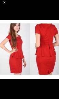 Red tube peplum dress CNY navy blue lace dress