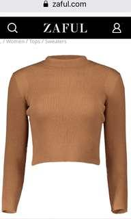 Ribbed, Mock Neck, Cropped Sweater