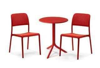 3 Piece Bistro Set in Red color