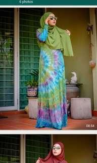 Tiedye cotton jubah with nursing zip#cny888