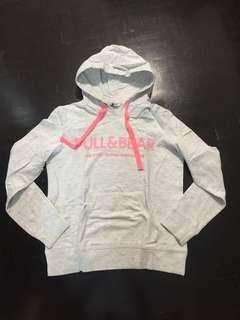 PULL & BEAR WHITE / NEON PINK , BLUE / NEON PINK HOODIE