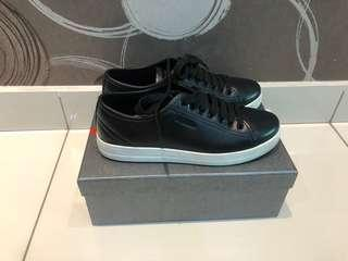 Prada Lace-Up Black Leather Sneaker
