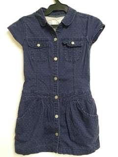 Blue Polka Denim Dress
