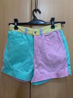 American Apparel Multi Color Color-Block Shorts