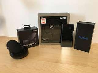 Gray Samsung Note 8 + DeX + BNIB AKG y50bt