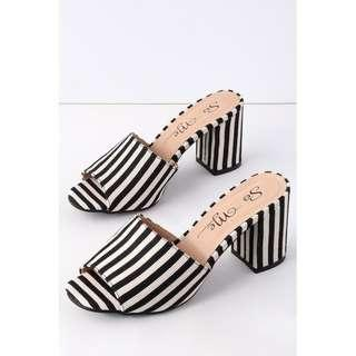 Lulus Striped Peep-Toe Mules