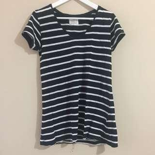 ZARA Striped V-Neck T-Shirt