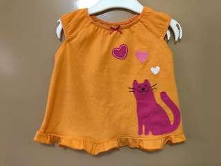 Carter's orange top with pink cat 12 months