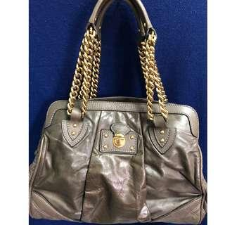 Marc Jacobs made in Italy leather with golden chain, grey colour handbag