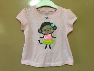 Carter's light pink shirt with baby monkey design 18 months
