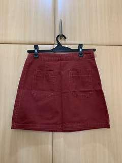Stradivarius Red Denim Skirt