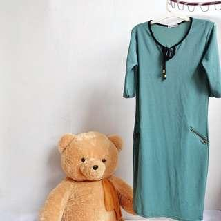 Dress Beneva Hijau Zipper Free Size