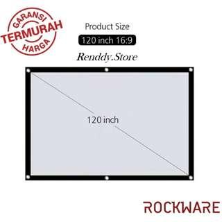 LAYAR PROJECTOR ROCKWARE 120 Inch Polyester Fabric Portable