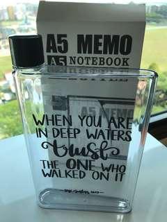 A5 Memo Notebook Water Bottle
