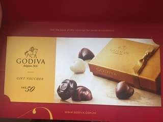 Godiva Chocolate $50現金券