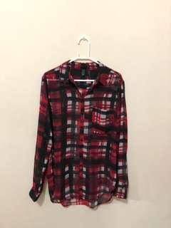 MANGO red sheer shirt