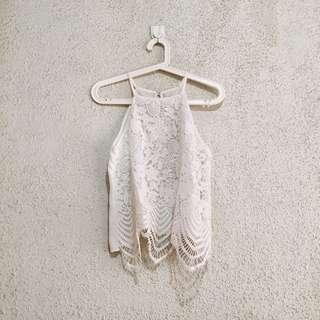 BNWOT White Lace Halter Top