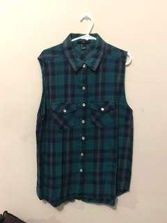 Forever 21 Checkered Blue Top