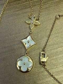 LV Necklace w/ Diamond and Mother of Pearl