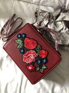 ZALORA cny bag red embroidery flowers maroon Chinese New Year