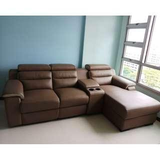 L shaped Sofa With Recliner and adjustable headrest for sale