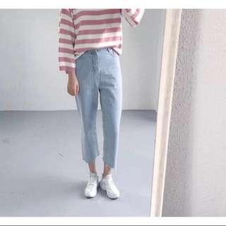 韓版高腰直筒牛仔褲 淺色 #舊愛換新歡