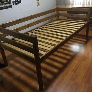 Scan Teak - high leg single bed frame
