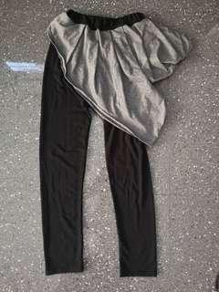 Black pants with grey front pattern
