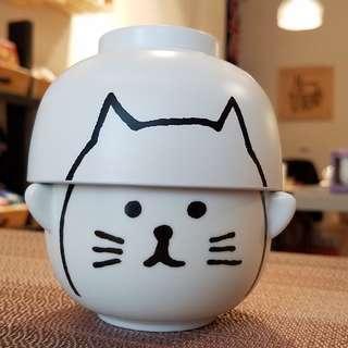 日本SUNART白貓咪日式湯飯碗組(汁椀&茶碗セット - 白ねこ)