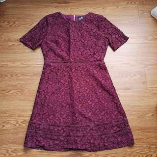 Doublewoot Maroon Lace Dress