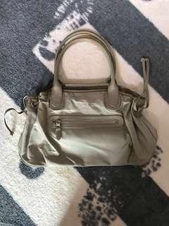 Agnes b leather/nylon handbag (beige)