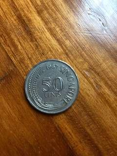 Old 50 cents Sg coin