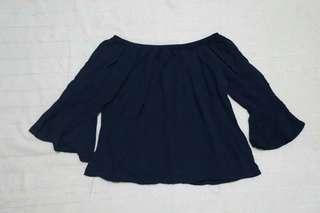 Off shoulder navy blouse
