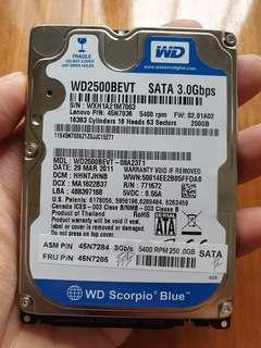 """250GB 2.5"""" Laptop Harddisk"""
