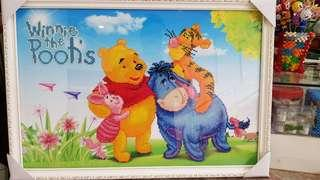 Completed Diamond Painting with Frame Winnie the Pooh and Friends