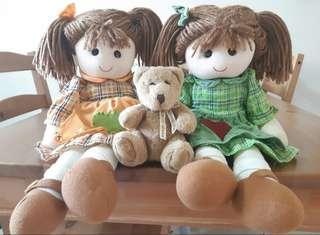 【🔥超便宜🔥】三個一組的可愛娃娃😍可愛雙胞胎娃娃👭&Roses小熊玩偶🐻     ⚠買再送水壺哦!