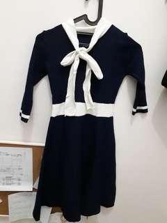 Dress korea biru donker