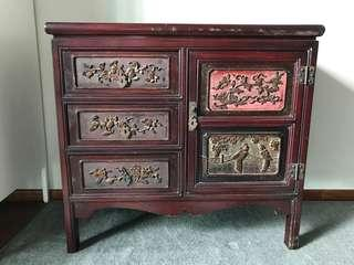 Antique wood carving chinese cabinet/drawers