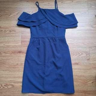 Blue Navy Off Shoulder Dress
