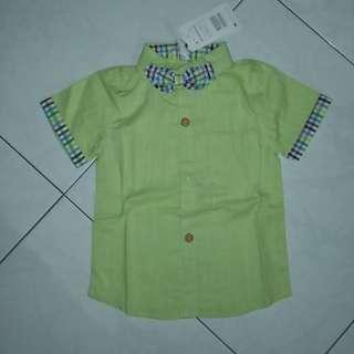 🚚 Korean-style short-sleeved plain green shirt with bow tie