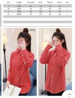 RED PINSTRIPE BUTTONED SHIRT