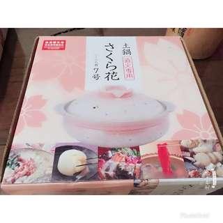 🚚 日本萬古燒粉紅白梅陶瓷鍋「7號2-3人用」❤️