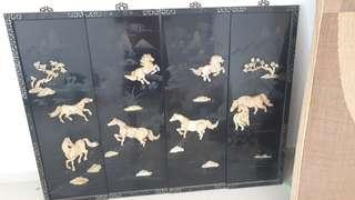 Wooden panel painting - Horses